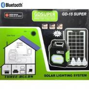 Ηλιακό σύστημα φωτισμού με 3 λάμπες LED,ραδιοφωνο,mp3 & bluetooth GD-15 Super
