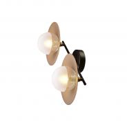 Φωτιστικό τοίχου & οροφής με ορειχάλκινα καπέλα & γυάλινες κεφαλές HL4322W47BB