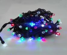 Χριστουγεννιάτικα λαμπάκια LED διαμαντάκι 100L με κοντρόλ 8 λειτουργιών πολύχρωμα σκούρο πράσινο καλώδιο OEM